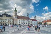 Sibiu, Romania - July 26, 2009: The Main Square On July 26, 2009 In Sibiu, Romania. Sibiu Is One Of