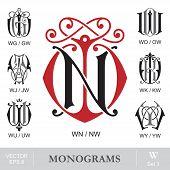 Vintage Monograms WN WG WO WJ WK WU WY can also be NW GW OW JW KW UW YW