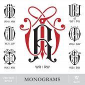 Vintage Monograms WR WH WF WJ WG WX WS can also be RW HW FW JW GW XW SW