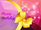 Happy birthday illustration with shine triangle and ribbon