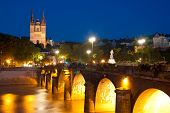 stock photo of anjou  - Cityscape of Angers at a dark summer night - JPG