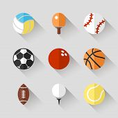 Sport balls icon set - vector white app buttons