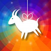 Goat Paper on Bright Colorful Rainbow Background.