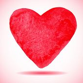 Hand-drawn painted red heart vector element for your design