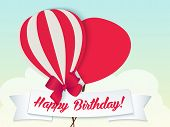 Happy birthday ballons greeting card red paper
