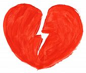 image of love hurts  - Hand painted symbol of broken love isoloated on pure white background - JPG