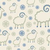 Winter Pattern With Snowflakes And Rams