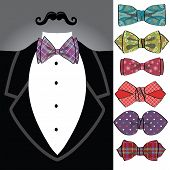 Vector tuxedo with ornamental bow tie set