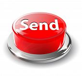 Send button, 3d red vector.