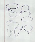 Hand-drawn, Speech Bubbles On A Paper In A Cage.