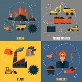 Coal industry flat set