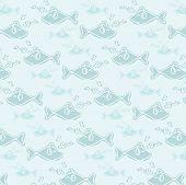 Blue Smile Fish Music Seamless Pattern