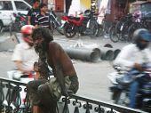 DZAJPUR, INDIA - SEPTEMBER 17, 2011: The homeless man in India