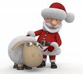 3D Santa Claus With A Lamb