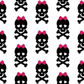 image of skull cross bones  - Skull with a bow - JPG