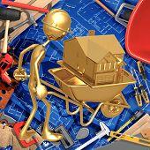 3D Construction Home Improvement Concept Wheelbarrow House