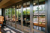 Glazed Entrance To The Luxurious Restaurant