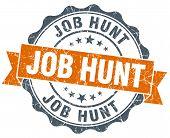 Job Hunt Vintage Orange Seal Isolated On White