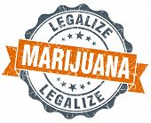 Legalize Marijuana Vintage Orange Seal Isolated On White
