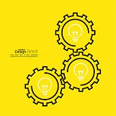 stock photo of mechanical engineering  - Gears symbol and Bulb light - JPG