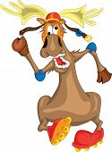Funny deer in a helmet riding on roller skates