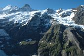 Peaks In Snow And Glacier Nearby Grindelwald In Switzerland