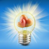 Light Bulb Concept With A Red Shape Of A Heart Inside
