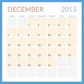 Calendar 2015 Vector Flat Design Template. Deceber. Week Starts Sunday