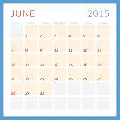 Calendar 2015 Vector Flat Design Template. June. Week Starts Sunday