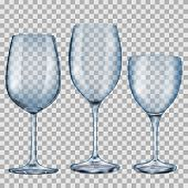 Transparent Blue Empty Glass Goblets For Wine