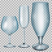 Transparent Blue Empty Glass Goblets For Cognac, Champagne And Beer