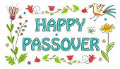 image of passover  - Floral banner with happy Passover text in the center - JPG