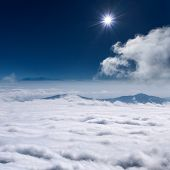 image of suny  - Sky above clouds at suny day towards the sun - JPG