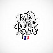 Fashion Boutique Paris Concept on White Background