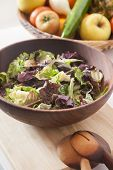Lettuce In Wood Bowl