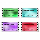 Set of colored blurry cinema ticket
