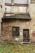 Wall And Window Of The Old Abandoned House In Vilnius, Lithuania