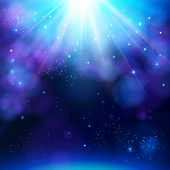Sparkling blue festive star burst background