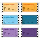 Set of Colored Cinema Ticket