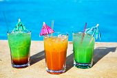 Cocotail Drinks By Tropical Swimming Pool