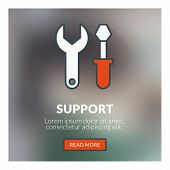 Flat Design Concept For Technical Support. Vector Illustration With Blurred Background