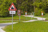 street and railway crossing in Bavaria