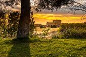 Landscape of the medieval castle of Fuentes De Valdepero in Palencia Spain