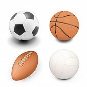 pic of balls  - Set of sport ball isolated on white background - JPG