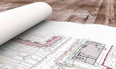 Blueprint Plan On Table Close-up