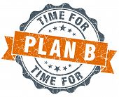 Time For Plan B Vintage Orange Seal Isolated On White
