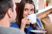 Date scene in the cafe