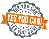 Yes You Can! Vintage Orange Seal Isolated On White