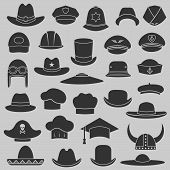 stock photo of chef cap  - vector set hat and cap illustration - JPG