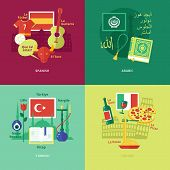 picture of pronunciation  - Set of flat design concept icons for foreign languages - JPG
